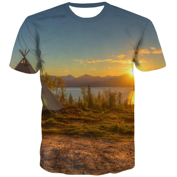 Camping T-shirt Men Sunset Shirt Print Forest Tshirt Printed Flame T-shirts 3d