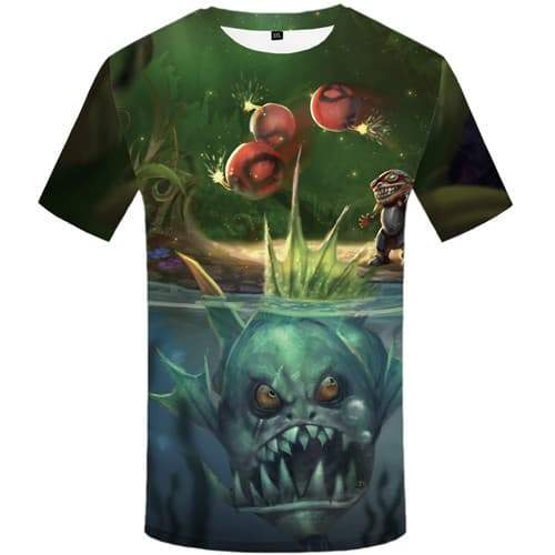 Fish T shirts Men League Of Legends Tshirts Novelty Piranha Tshirts Casual Game Tshirt Printed War Tshirt Anime Short Sleeve - KYKU