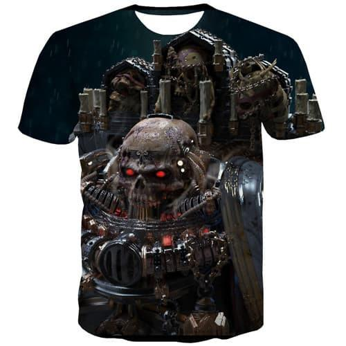 Skull T shirts Men Metal T-shirts Graphic Military T-shirts 3d Punk Rock Tshirt Anime Hip Hop Tshirt Printed Short Sleeve - KYKU