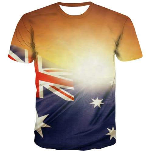 Harajuku T shirts Men Australian Flag T-shirts 3d Colorful Tshirts Casual Australia T shirts Funny Abstract Tshirts Cool - KYKU