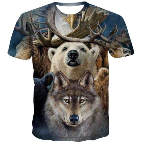 Bear T-shirt Men Animal Shirt Print Wolf Tshirts Cool Eagle Tshirts Casual War Tshirt Printed Short Sleeve Full Print Mens - KYKU
