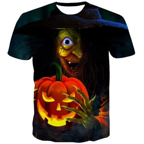 Halloween T-shirt Men Pumpkin Tshirts Casual Witch Tshirts Novelty Punk Tshirts Cool Gothic T shirts Funny Short Sleeve Fashion - KYKU