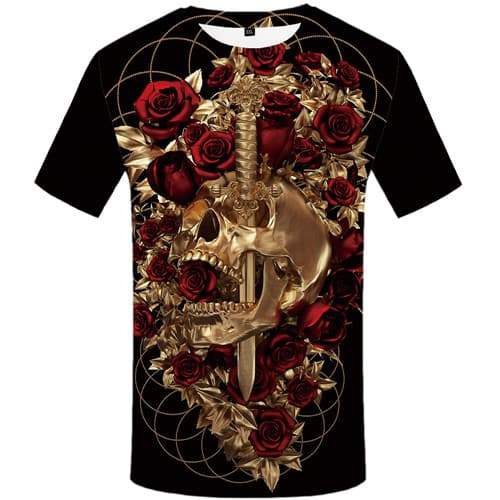 Skull T-shirt Men Metal Tshirts Cool Rose T-shirts Graphic War Tshirt Printed Harajuku T-shirts 3d Short Sleeve summer Men/women - KYKU