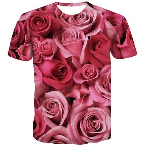 Rose T-shirt Men Flower Tshirts Casual Harajuku Shirt Print Pink Tshirt Anime Novel Tshirts Cool Short Sleeve T shirts Men women - KYKU