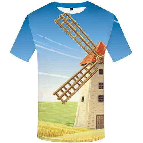 Windmill T-shirt Men Netherlands Tshirts Novelty Novel Tshirt Printed Cartoon T-shirts 3d Harajuku Tshirts Casual Short Sleeve - KYKU