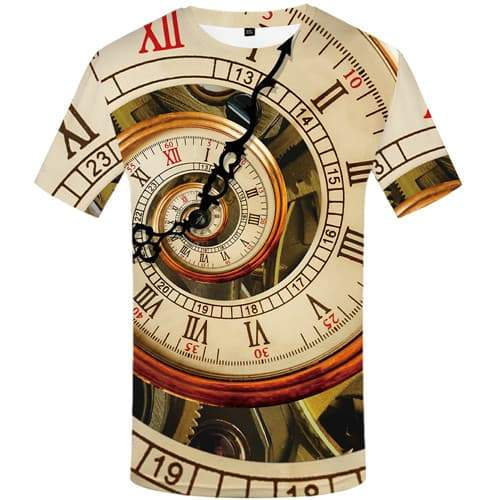 Clock T shirts Men Metal T shirts Funny Vortex Tshirts Casual Mechanical Tshirts Cool Geometric T-shirts Graphic Short Sleeve - KYKU