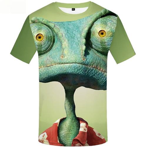 Lizard T shirts Men Green T-shirts 3d Animal Tshirt Printed Eye T shirts Funny Short Sleeve Fashion Mens New Style Big Size