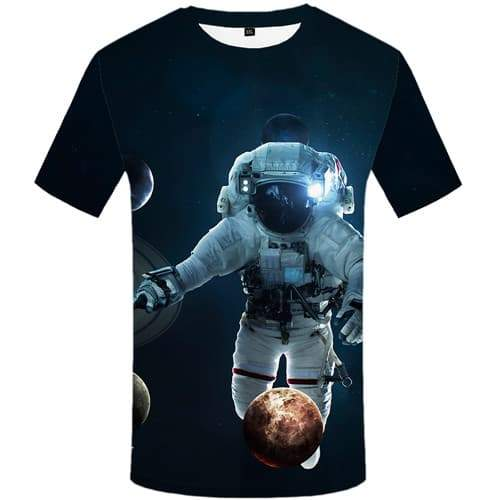 Astronaut T-shirt Men Galaxy Space T shirts Funny Moon Tshirts Casual Harajuku Shirt Print Funny Tshirt Printed Short Sleeve - KYKU