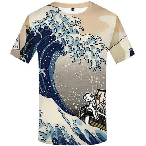 Wave T shirts Men Art Tshirts Cool Pirate Tshirts Novelty Cartoon T shirts Funny Animal Tshirt Printed Short Sleeve Fashion - KYKU
