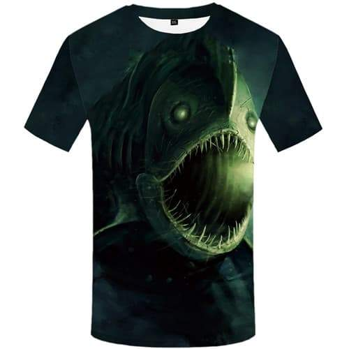 Fish T-shirt Men Punk Rock Tshirts Cool Animal T shirts Funny Green Tshirt Printed Tropical T-shirts Graphic Short Sleeve - KYKU