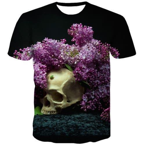 Skull T-shirt Men Flower T-shirts Graphic Punk Rock Shirt Print Hip Hop Tshirts Cool Harajuku Tshirt Anime Short Sleeve - KYKU