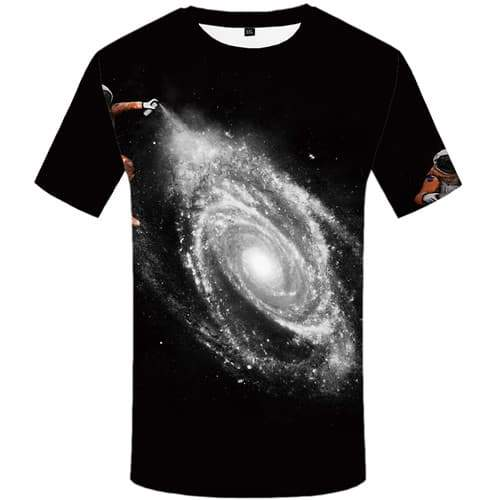 Galaxy Space T-shirt Men Black T-shirts Graphic Astronaut Tshirts Casual Vortex T-shirts 3d Funny Tshirt Printed Short Sleeve - KYKU
