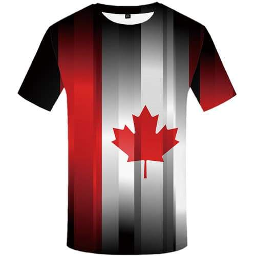 Maple Leaf T shirts Men Graffiti Tshirts Cool Canada T shirts Funny Art T-shirts Graphic Abstract T-shirts 3d Short Sleeve - KYKU