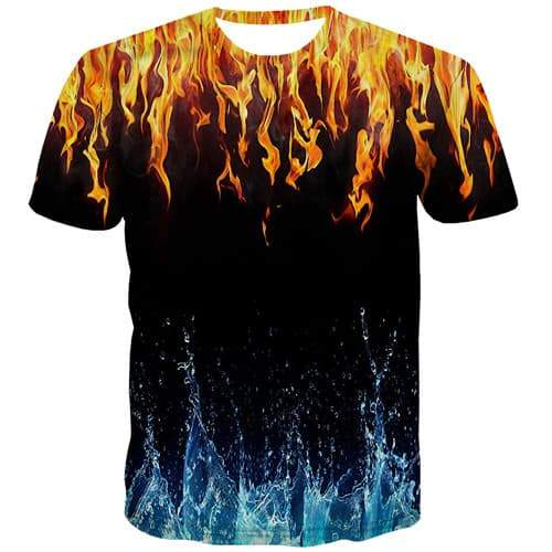 Flame T shirts Men Black T-shirts Graphic Yin Yang Tshirt Printed Punk T shirts Funny Gothic Tshirts Novelty Short Sleeve summer - KYKU