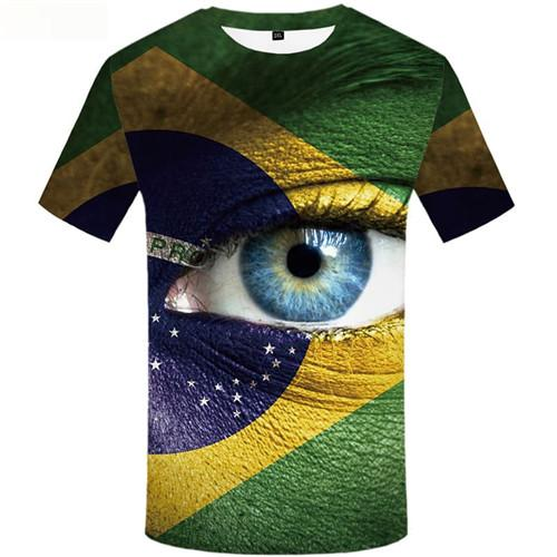 Eye T-shirt Men Brazilian Flag Tshirts Cool Green T-shirts Graphic Colorful Shirt Print Short Sleeve Fashion Men Tops O-neck