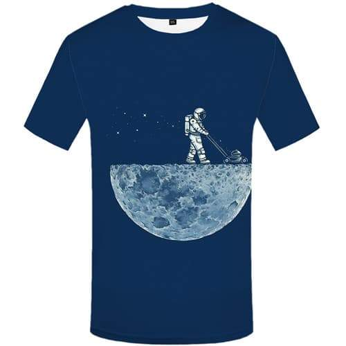 Space Galaxy T-shirt Men Astronaut Tshirt Printed Moon Shirt Print Metal Tshirt Anime Funny T-shirts 3d Short Sleeve summer Mens - KYKU