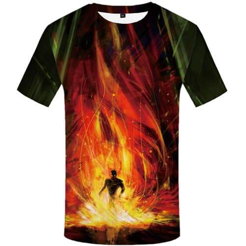 Skull T shirts Men Fire Tshirts Cool War Tshirts Novelty Flame T-shirts Graphic Muscle Tshirt Anime Short Sleeve Hip hop Mens - KYKU