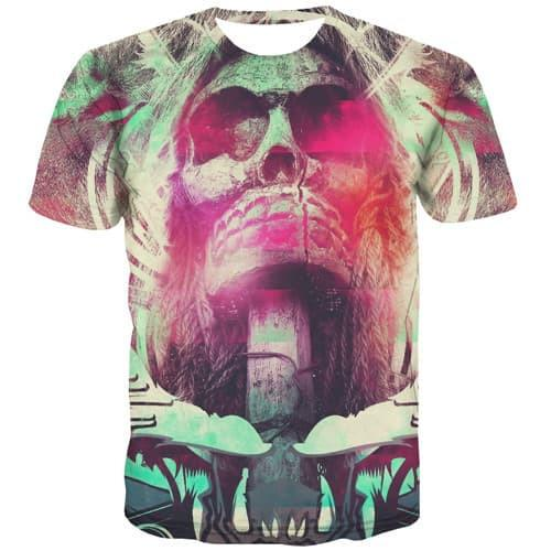 Skull T-shirt Men Terror Tshirt Anime Colorful T-shirts Graphic Funny Tshirt Printed Rock Tshirts Casual Short Sleeve T shirts - KYKU