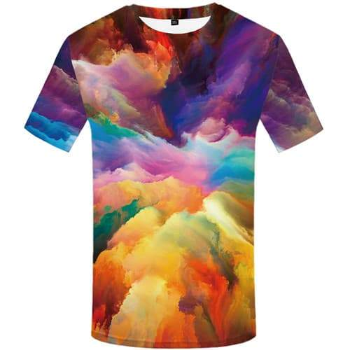 Art T shirts Men Graffiti Tshirt Anime Colorful T-shirts 3d Painting Tshirts Novelty Abstract Tshirts Cool Short Sleeve Fashion - KYKU