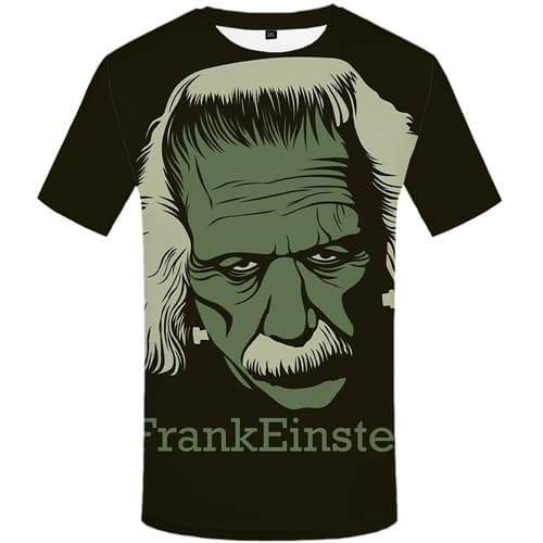 Einstein T-shirt Men Science T-shirts 3d Black Shirt Print Character T shirts Funny Gothic Tshirt Anime Short Sleeve T shirts - KYKU