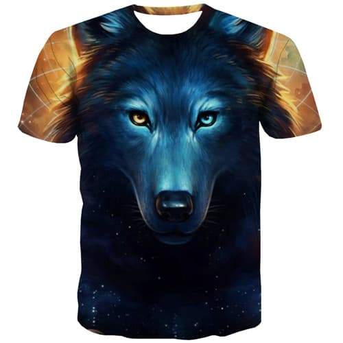 Wolf T shirts Men Galaxy Tshirt Anime Animal Tshirts Casual Geometric Tshirts Cool Hot Sale T-shirts Graphic Short Sleeve - KYKU