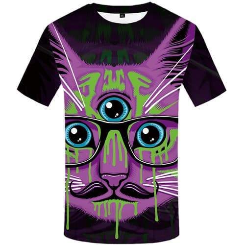 Cat T shirts Men Animal T shirts Funny Purple Tshirts Novelty Graffiti Tshirt Printed Gothic Tshirts Cool Short Sleeve summer - KYKU