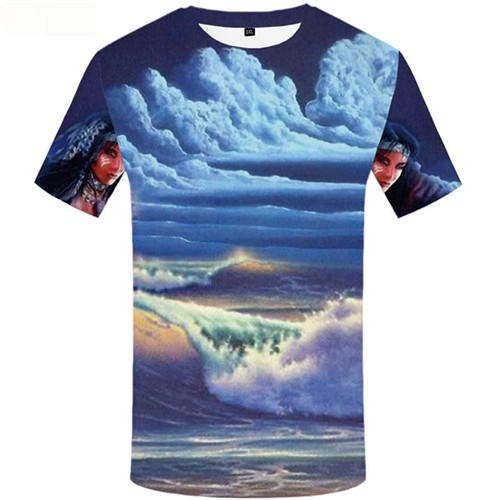Indians T-shirt Men Beauty Tshirt Printed Cloud Shirt Print Mountain Tshirts Casual Short Sleeve summer Mens Tee Top Slim O-Neck