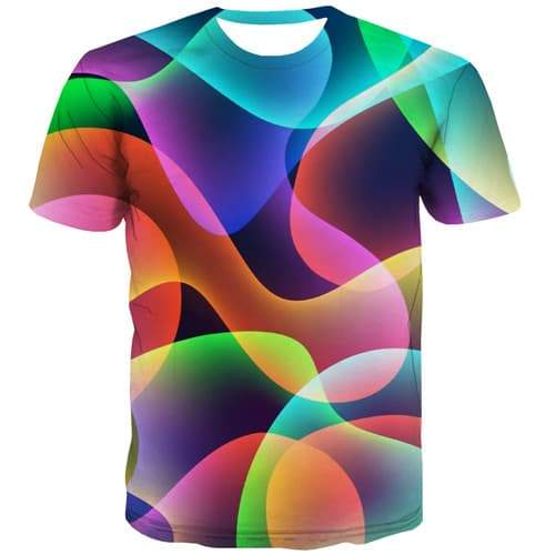 Geometric T-shirt Men Abstract Tshirt Printed Colorful T shirts Funny Leisure Tshirt Anime Psychedelic T-shirts Graphic - KYKU