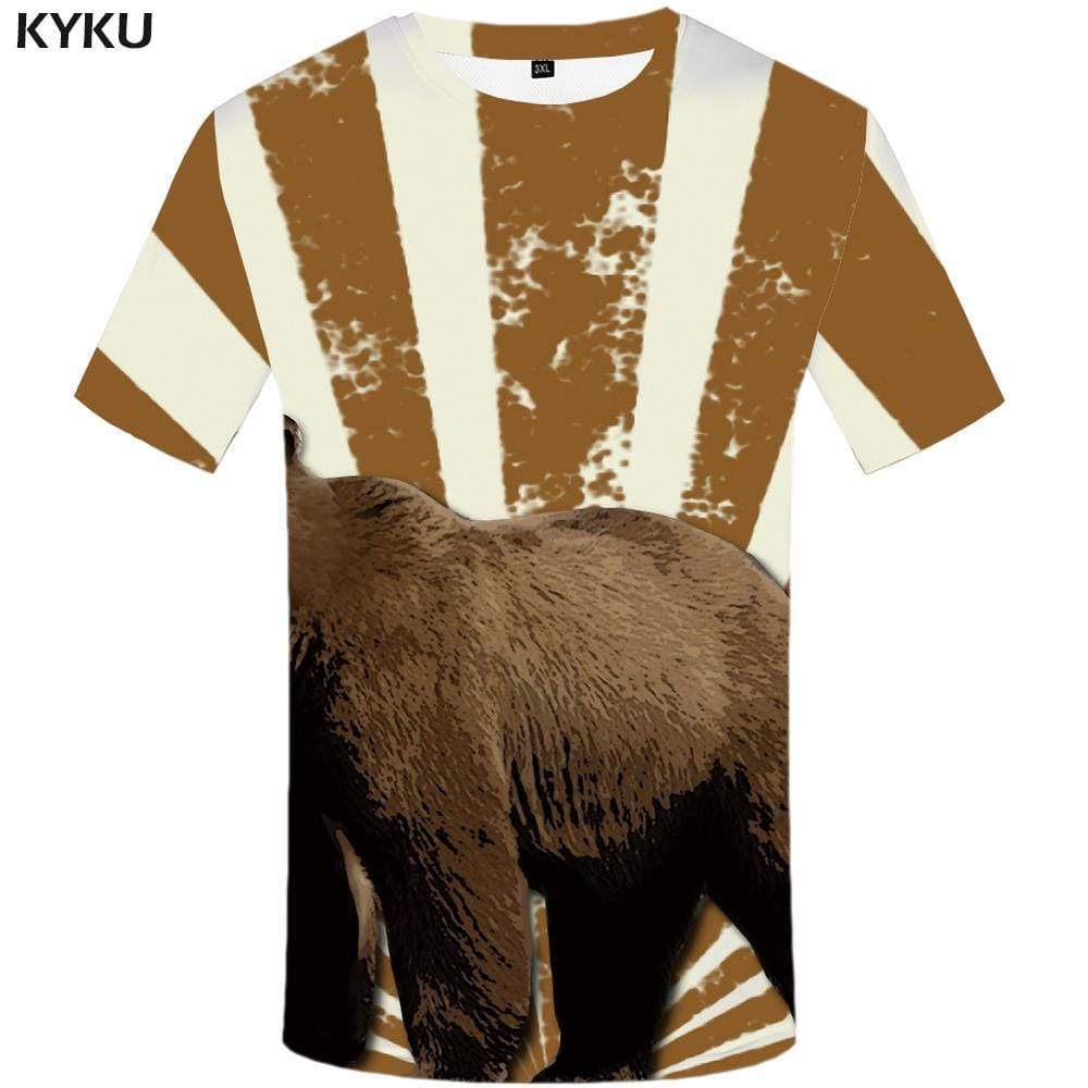 Bear T shirt Men Animal T shirts Funny Russia T-shirt 3d Harajuku Tshirt Anime Tshirts Print Mens Fashion Short Sleeve Unisex - KYKU