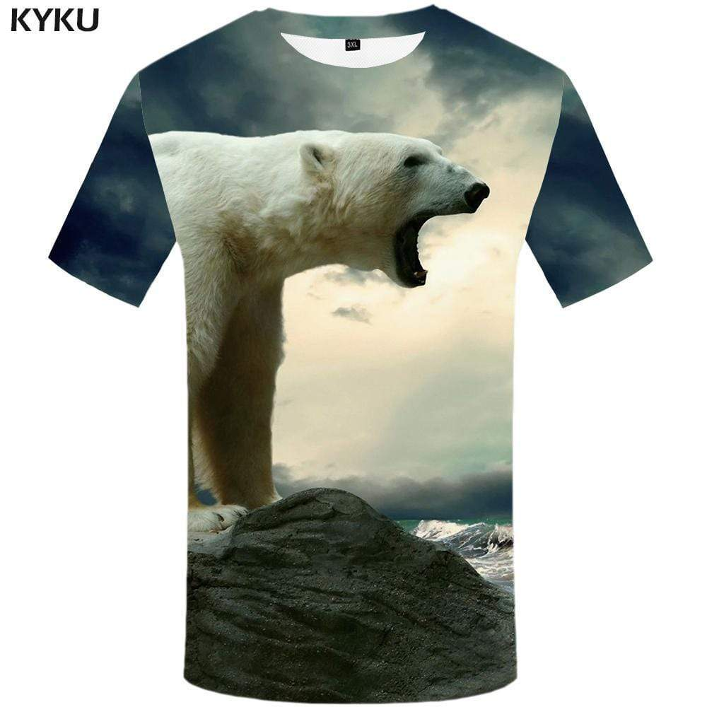 Bear T-shirts Men Animal T-shirt 3d Russia Tshirts Print Mountain T shirts Funny Angry Tshirt Anime Mens Fashion Hip hop Unisex - KYKU