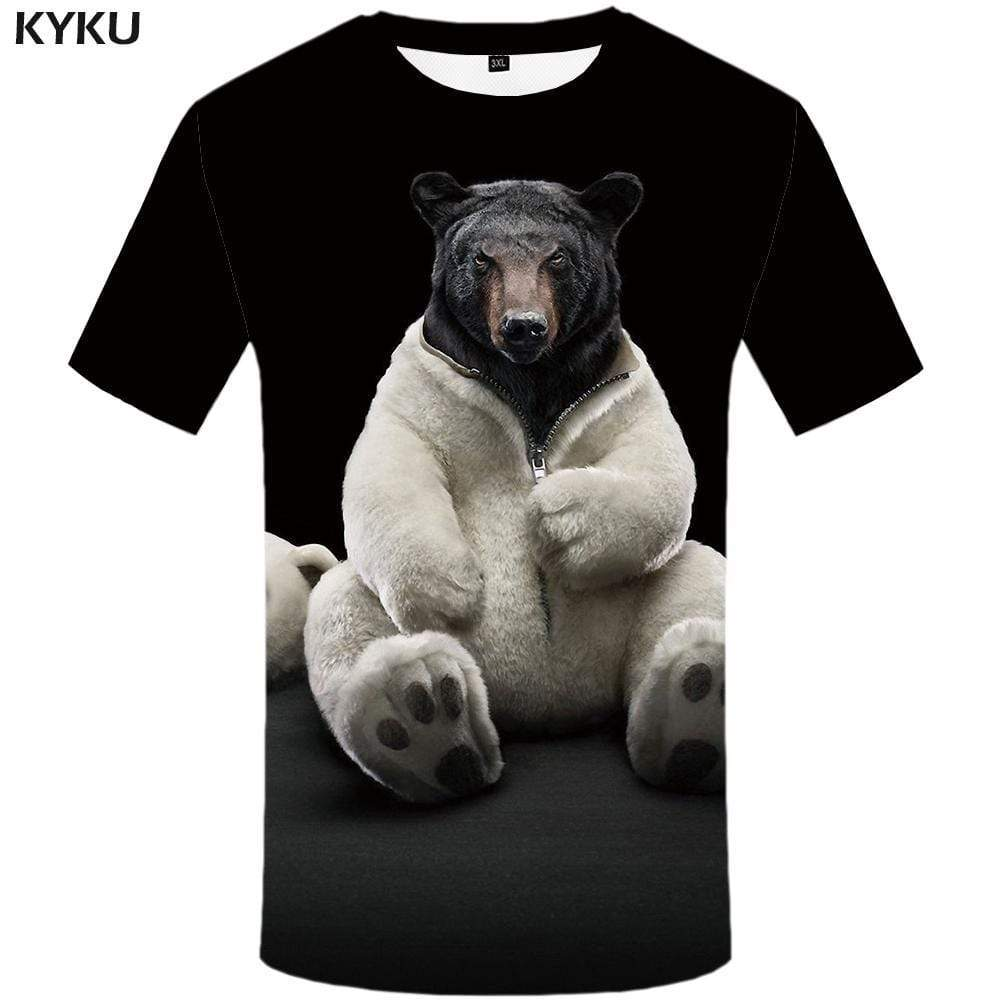 Bear T-shirts Men Russia T shirts Funny Animal Tshirt Anime Black Tshirts Print Harajuku T-shirt 3d Mens Fashion Short Sleeve - KYKU