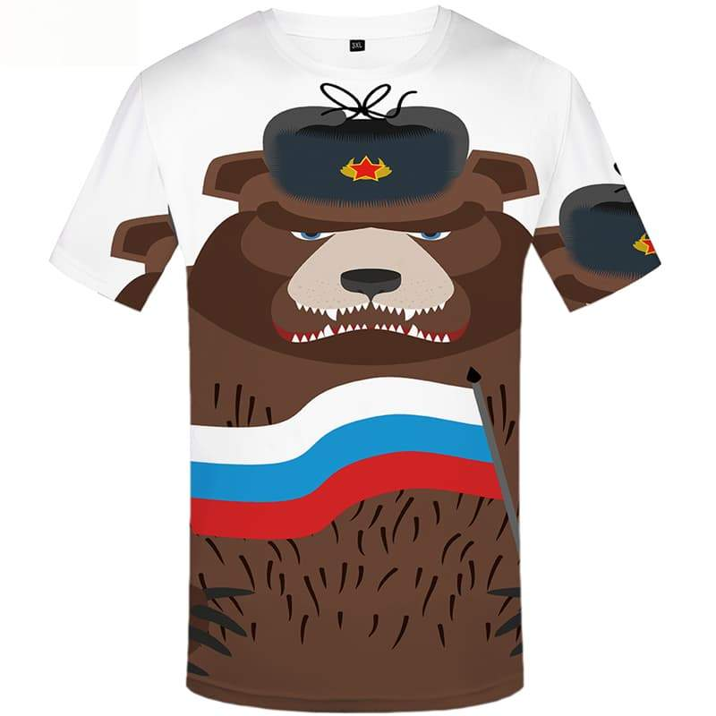 Bear T shirts Men Russia T shirts Funny Military T-shirts Graphic Short Sleeve - KYKU