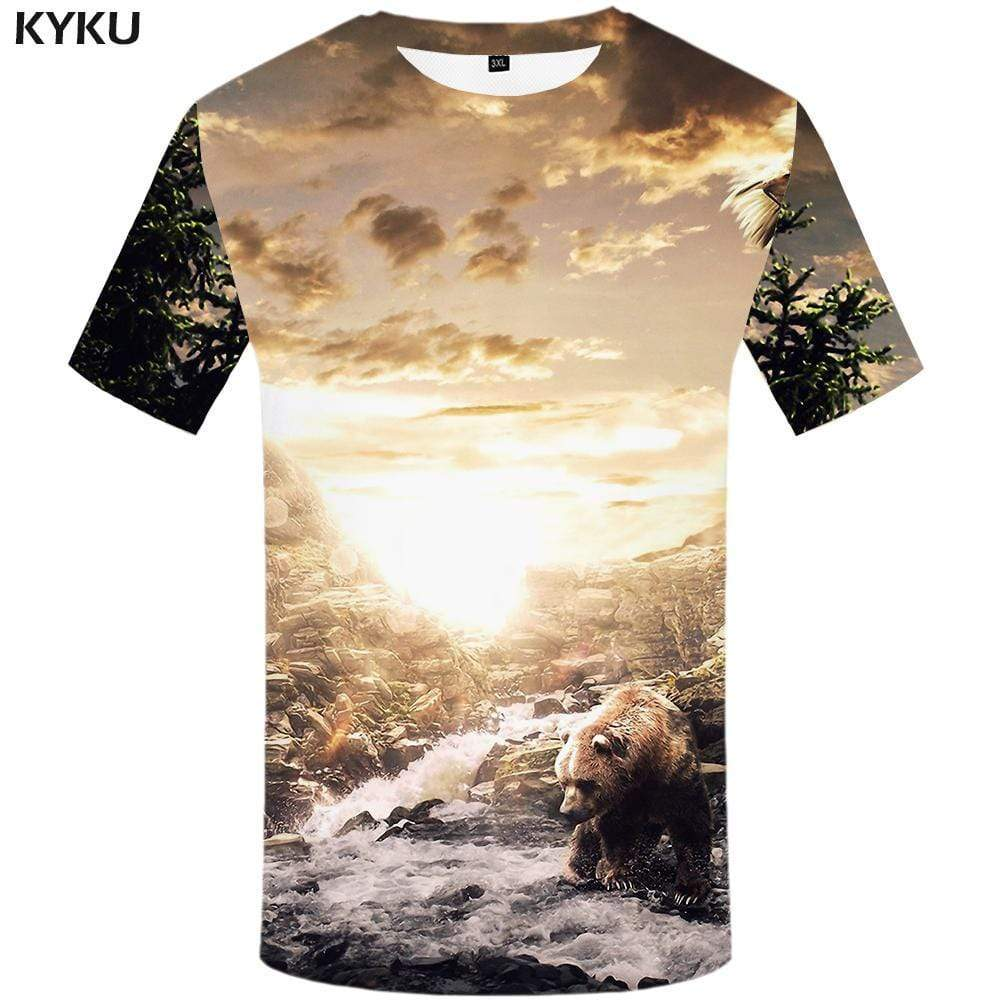 Bear T-shirts Men Russia Tshirt Anime Animal T-shirt 3d Mountain T shirts Funny Water Tshirts Print Mens Clothing Short Sleeve - KYKU
