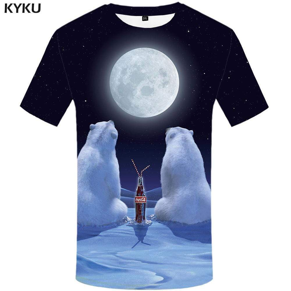 Bear T-shirts Men Russia Tshirt Anime Moon Tshirts Print Animal T-shirt 3d Space Galaxy T shirts Funny Mens Clothing Casual - KYKU