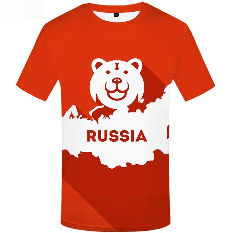 Bear T shirts Men Russia Tshirt Anime World Map T shirts Funny Short Sleeve - KYKU