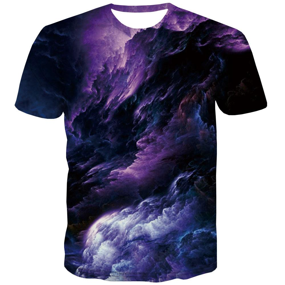 Galaxy T shirts Men Space Tshirts Novelty Graphic T-shirts Graphic Purple T-shirts 3d Smoke Tshirts Cool Short Sleeve Punk Rock - KYKU