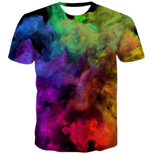 Painting T shirts Men Psychedelic T shirts Funny Abstract T-shirts 3d Colorful Shirt Print Black Tshirts Novelty Short Sleeve - KYKU