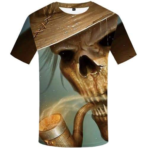 Smoking Monkey T shirts Men Skull Tshirts Cool Rock T-shirts 3d Film T-shirts Graphic Animal Tshirts Novelty Short Sleeve - KYKU