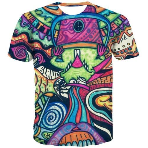 Elf T shirts Men Psychedelic T shirts Funny Anime Tshirt Anime Abstract Shirt Print Colorful T-shirts Graphic Short Sleeve