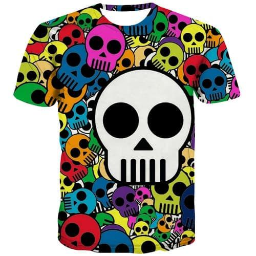 Skull T-shirt Men Colorful Shirt Print Hip Hop T shirts Funny Cosplay T-shirts Graphic Punk Tshirt Printed Short Sleeve Hip hop - KYKU