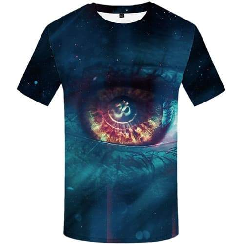 Eye T-shirt Men Flame Shirt Print Fantasy T-shirts Graphic Harajuku Tshirts Cool Gothic Tshirts Novelty Short Sleeve T shirts - KYKU
