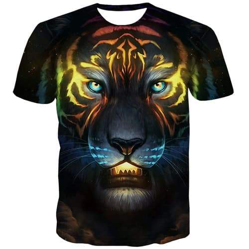 Animal T shirts Men Tiger T-shirts 3d Ferocious Tshirts Casual Galaxy T-shirts Graphic Punk Rock Tshirts Cool Short Sleeve - KYKU