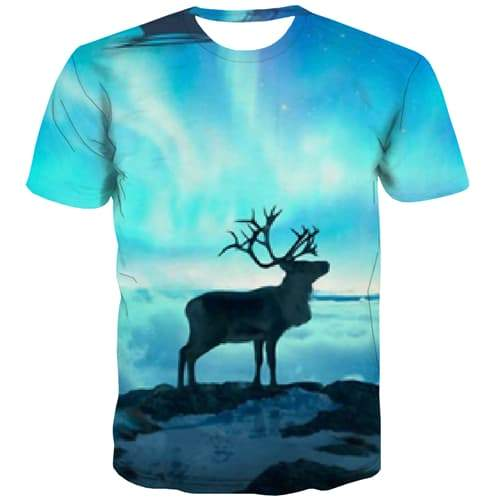 Christmas T-shirt Men Deer T shirts Funny Galaxy Tshirt Printed Animal T-shirts Graphic Funny Tshirts Casual Short Sleeve