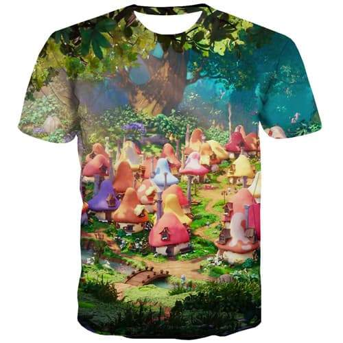 Anime T-shirt Men Tree Tshirt Anime Colorful T-shirts Graphic Funny Tshirt Printed Forest Tshirts Casual Short Sleeve Full Print - KYKU