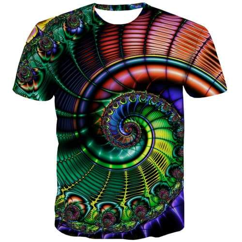 Psychedelic T-shirt Men Dizziness T shirts Funny Colorful Tshirts Casual Flower T-shirts 3d Vortex Tshirt Printed Short Sleeve - KYKU