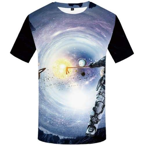 Galaxy Space T-shirt Men Astronaut Tshirt Anime Earth Tshirts Cool Nebula T-shirts 3d Abstract Shirt Print Short Sleeve - KYKU