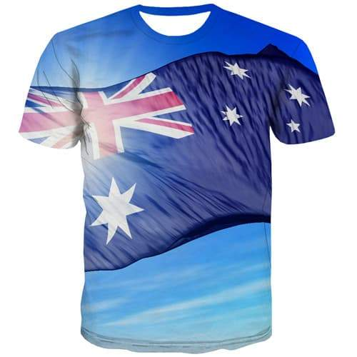 Australian Flag T shirts Men Australia Tshirts Novelty Blue T-shirts Graphic Sky Tshirts Casual Harajuku T-shirts 3d - KYKU