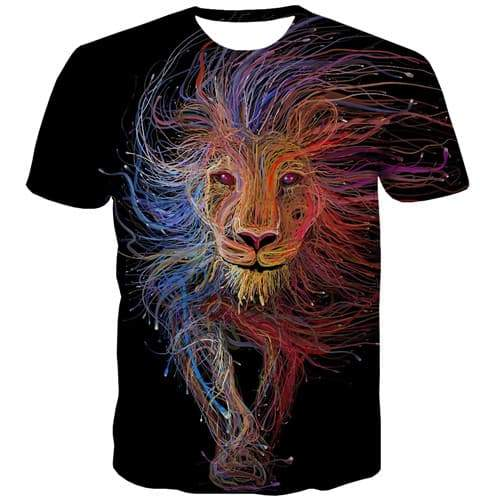 Lion T shirts Men Space Galaxy Tshirt Anime Animal Tshirt Printed Rock Tshirts Casual Gothic Tshirts Cool Short Sleeve summer - KYKU
