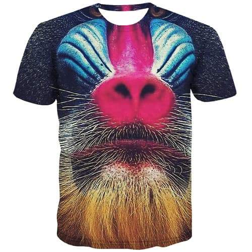 Animal T-shirt Men Orangutan T-shirts Graphic Funny Tshirt Anime Halloween Tshirts Casual Leisure T shirts Funny Short Sleeve - KYKU