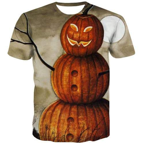 Pumpkin Head T-shirt Men Halloween Tshirts Novelty Scarecrow Tshirts Cool Cosplay T-shirts 3d Funny Tshirts Casual Short Sleeve - KYKU